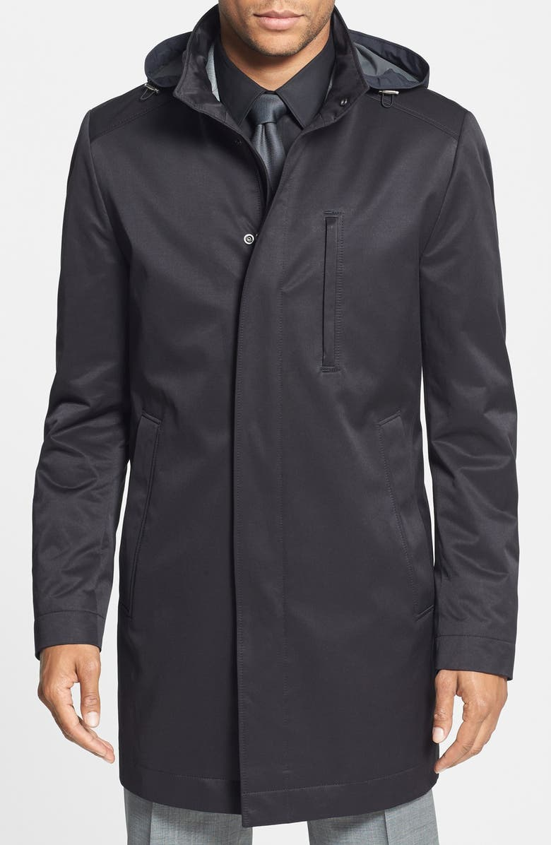 ZZDNUHUGO BOSS BOSS 'The Donal' Trim Fit Raincoat, Main, color, 001