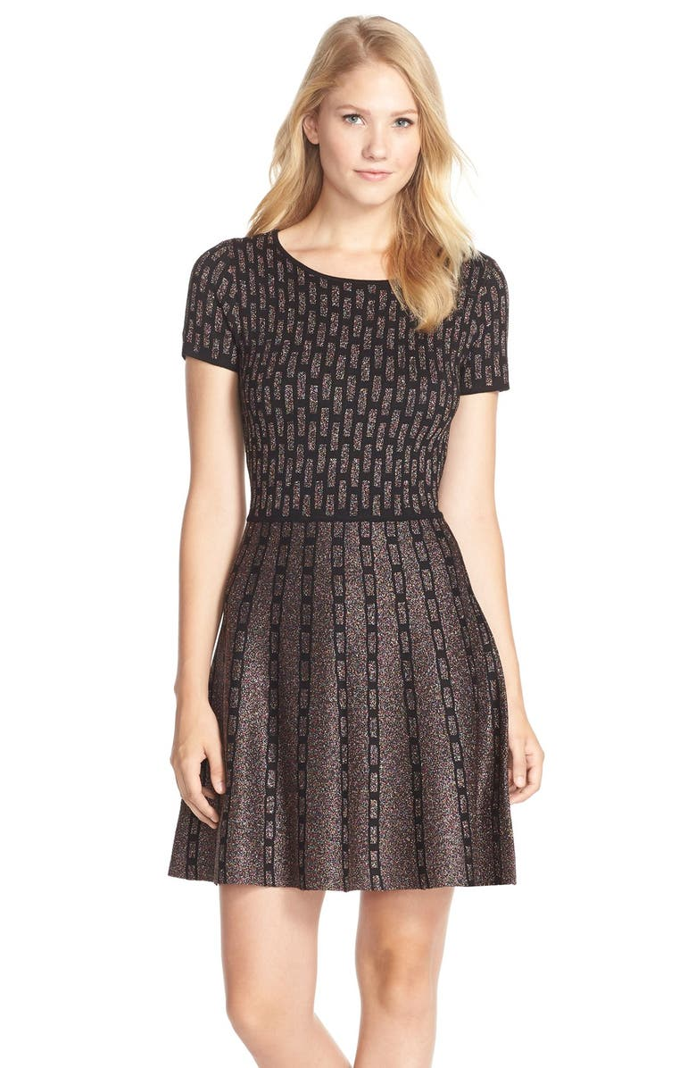 CECE by Cynthia Steffe'Sage' Metallic Fit & Flare Sweater Dress, Main, color, 002