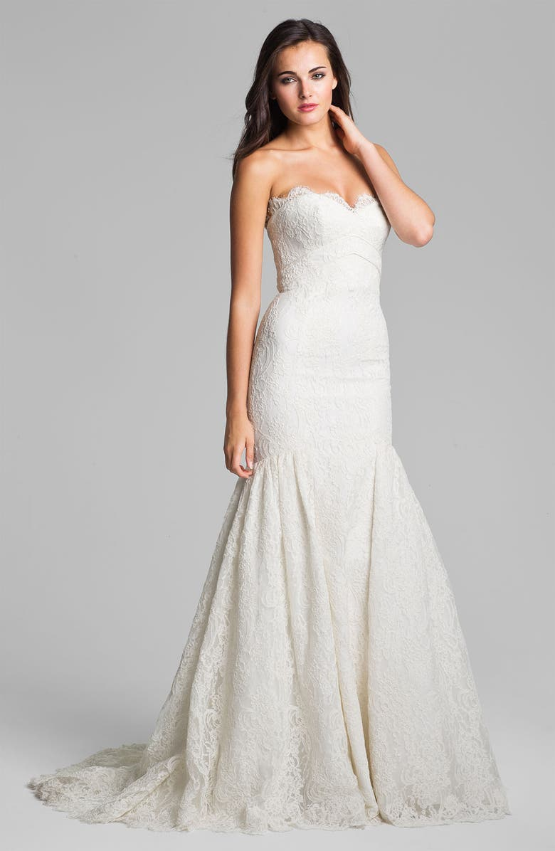 THEIA Strapless Embroidered Lace Trumpet Gown, Main, color, OFF WHITE