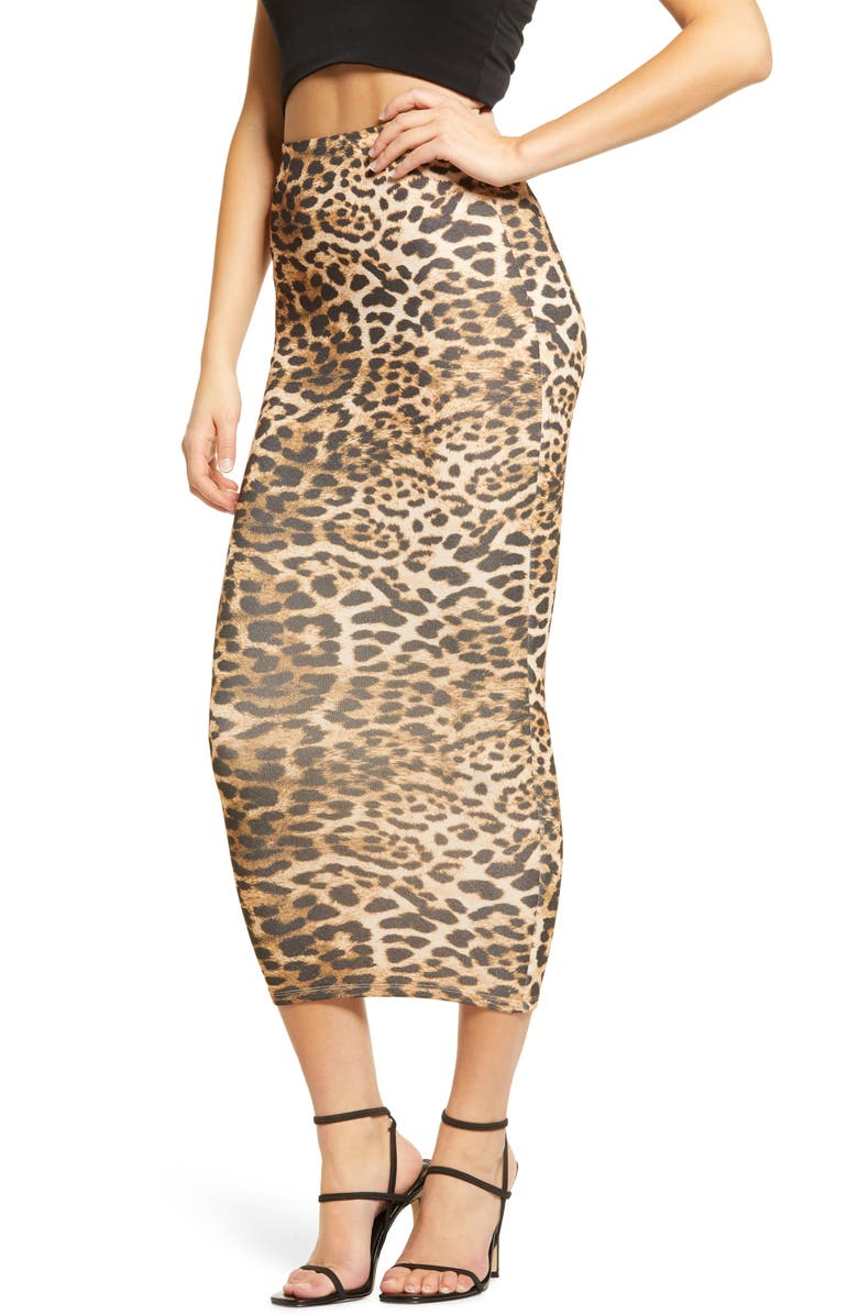 NAKED WARDROBE Hourglass Midi Skirt, Main, color, LEOPARD