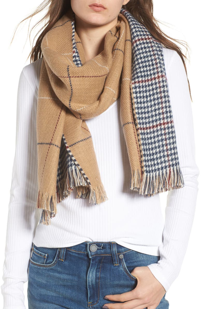 BP. Reversible Houndstooth & Grid Scarf, Main, color, 250