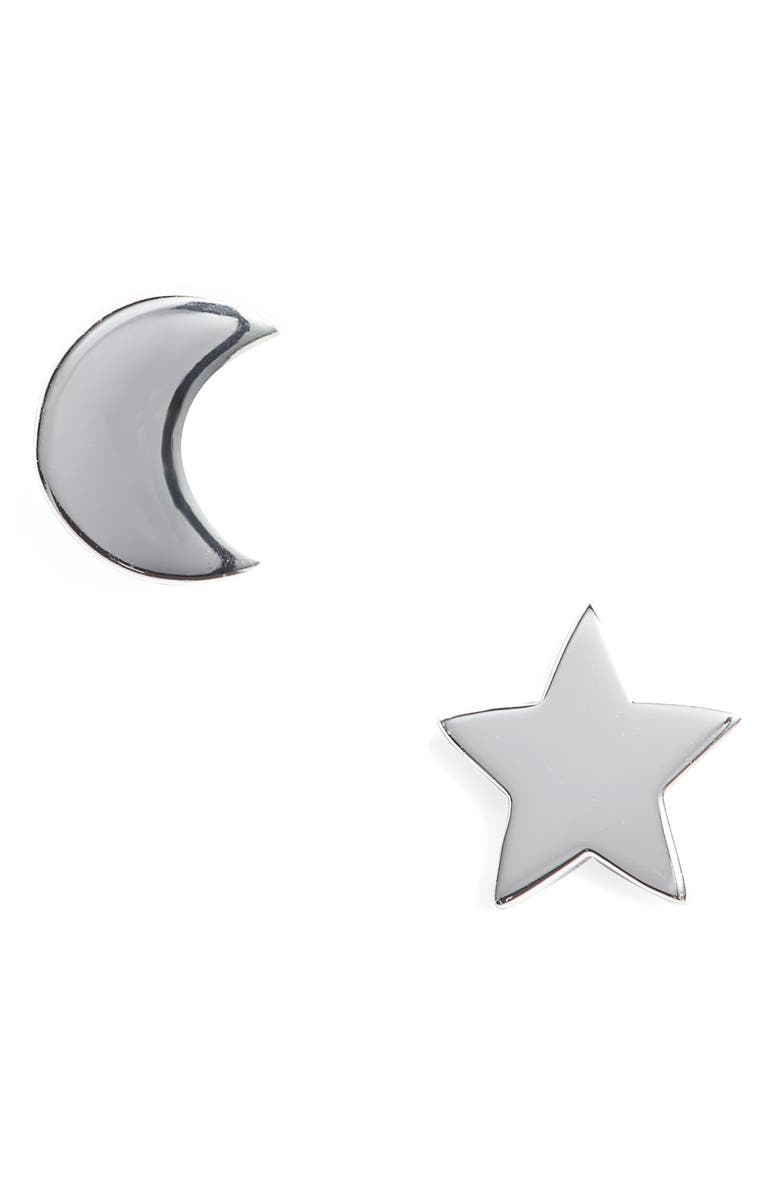 ARGENTO VIVO STERLING SILVER Argento Vivo Moon & Star Stud Earrings, Main, color, SILVER