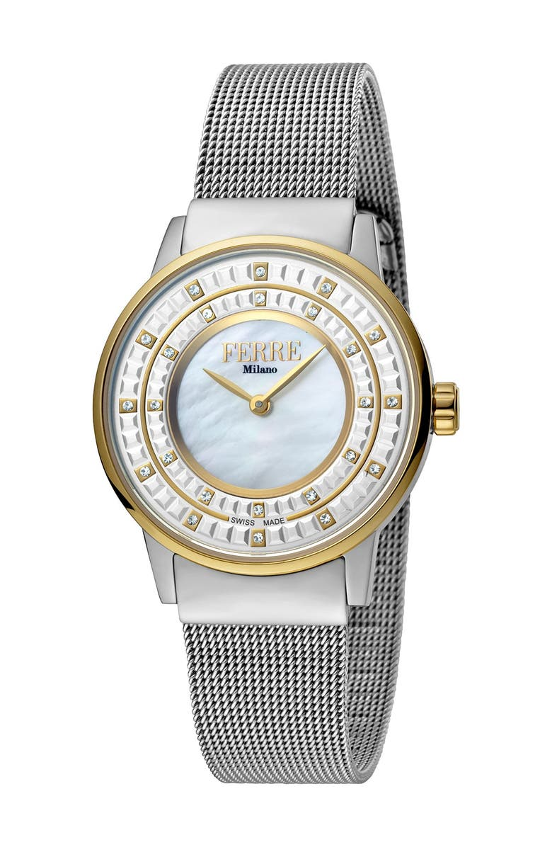 FERRE MILANO Women's Donna Cremona Mesh Band Watch, 32mm, Main, color, TWO TONED SS/YG