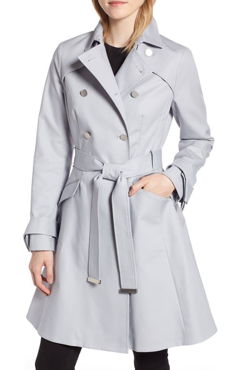 TED BAKER LONDON Tie Cuff Detail Trench Coat, Main, color, 030