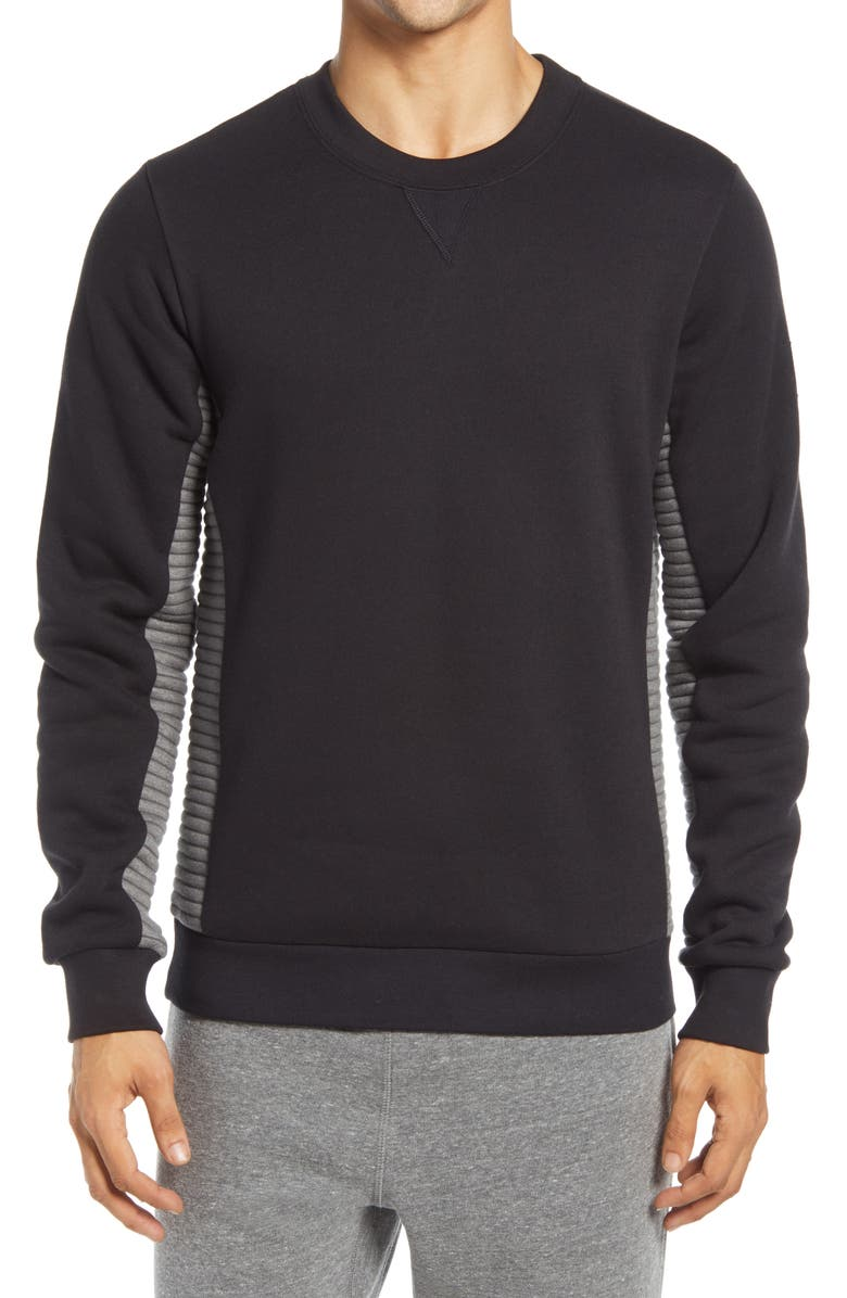 ALO Men's Ridge Crewneck Sweatshirt, Main, color, BLACK/ GREY HEATHER