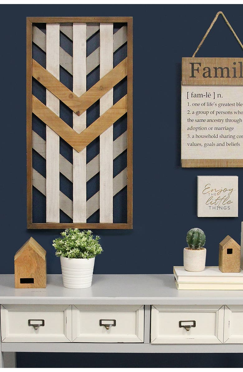 STRATTON HOME DECOR Multi Framed Geometric Wood Wall Panel, Main, color, GREY WHITE NATURAL