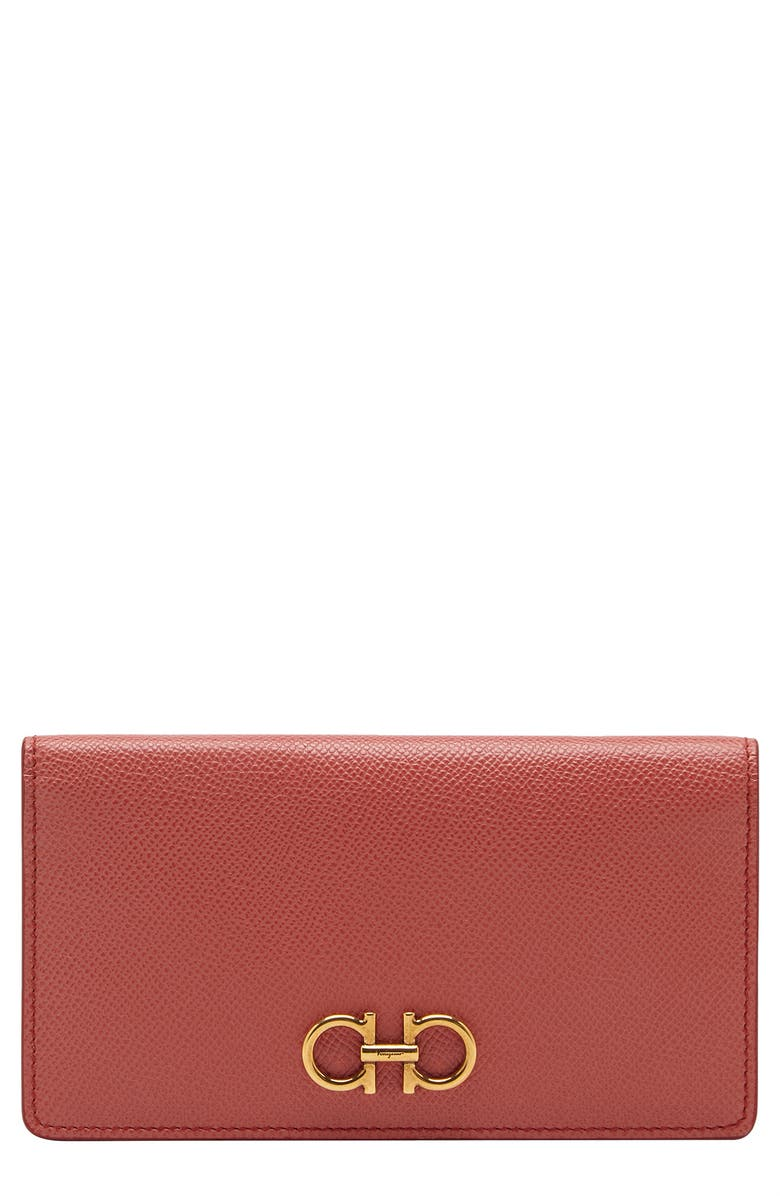 SALVATORE FERRAGAMO Gancini Leather Continental Wallet, Main, color, LINGONBERRY