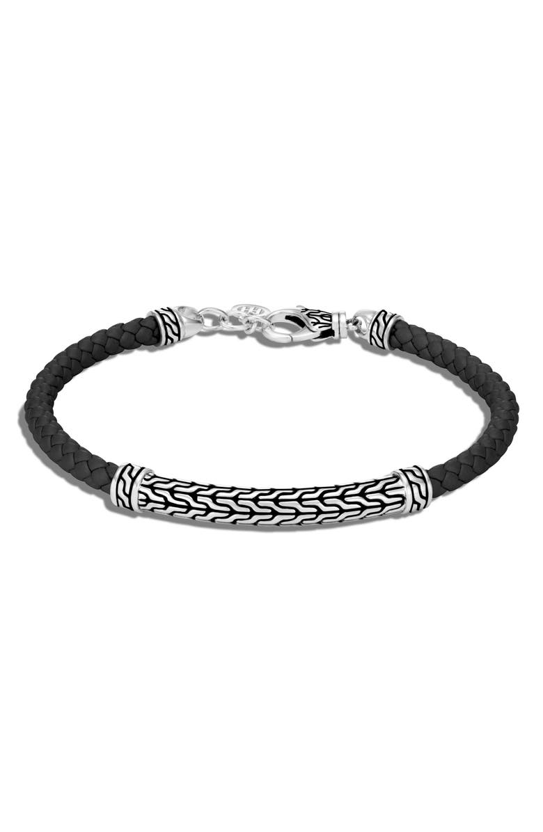 JOHN HARDY Classic Chain Silver Station Leather Bracelet, Main, color, SILVER/ BLACK