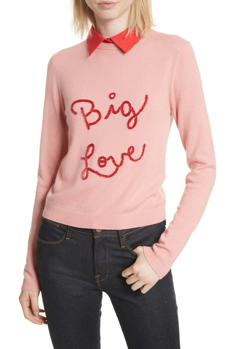 ALICE + OLIVIA Big Love Embroidered Cashmere Sweater, Main, color, MILLENNIAL PINK/ APPLE