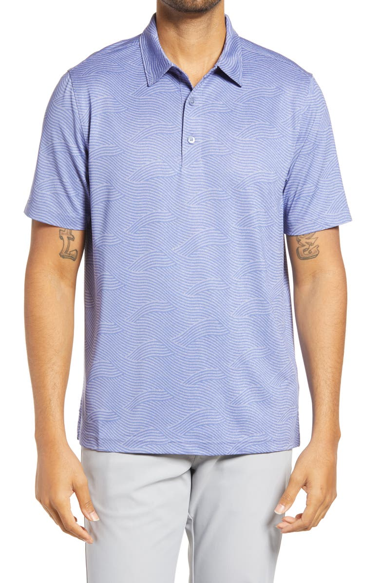 CUTTER & BUCK Forge Stretch Wave Print Polo Shirt, Main, color, HYACINTH HEATHER