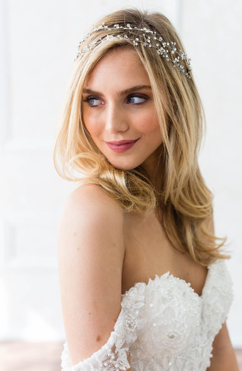BRIDES & HAIRPINS 'Gia' Double Banded Halo Headpiece, Main, color, 040