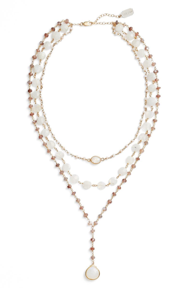 ELA RAE Multistrand Y-Necklace, Main, color, PINK OPAL/ BROWN MOONSTONE