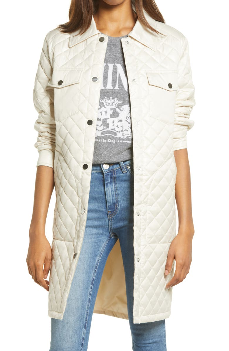TREASURE & BOND Long Quilted Jacket, Main, color, MOONSTONE
