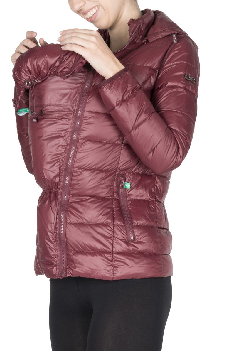 MODERN ETERNITY 5-in-1 Down Maternity Puffer Coat, Main, color, BURGUNDY