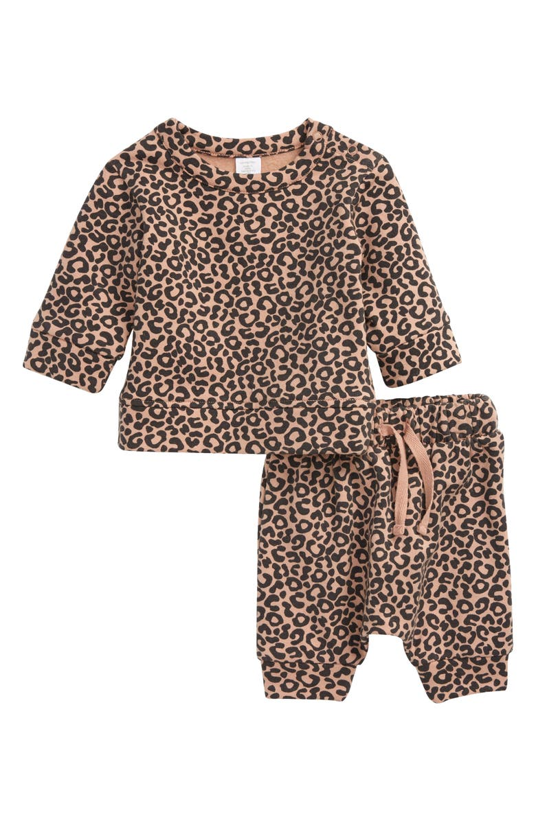 NORDSTROM Leopard Print Top & Pants Set, Main, color, 251