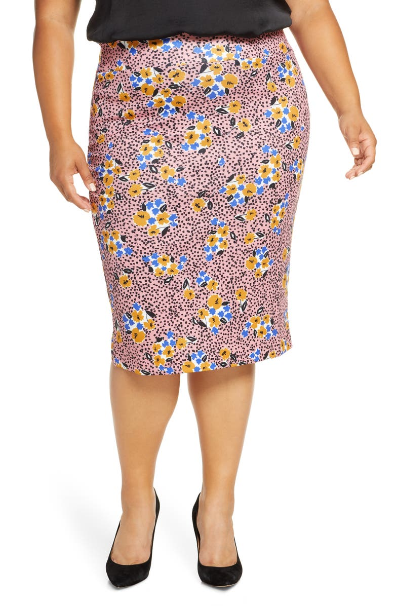 ELOQUII Floral Print Scuba Pencil Skirt, Main, color, 100