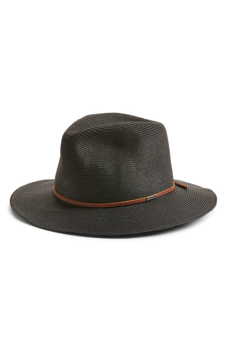 BRIXTON Wesley Packable Straw Fedora, Main, color, BLACK/BROWN