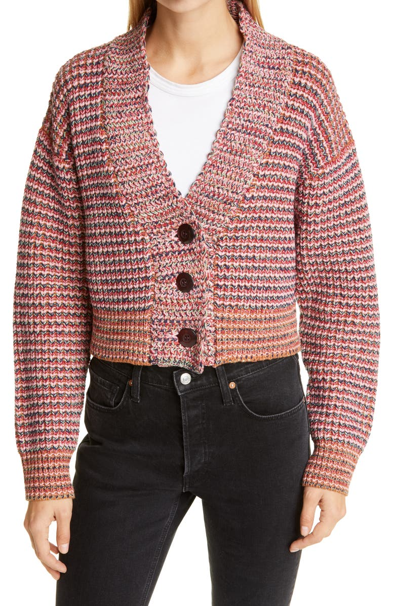THE GREAT. Montana Cropped Cotton Blend Cardigan, Main, color, FIELD STRIPE