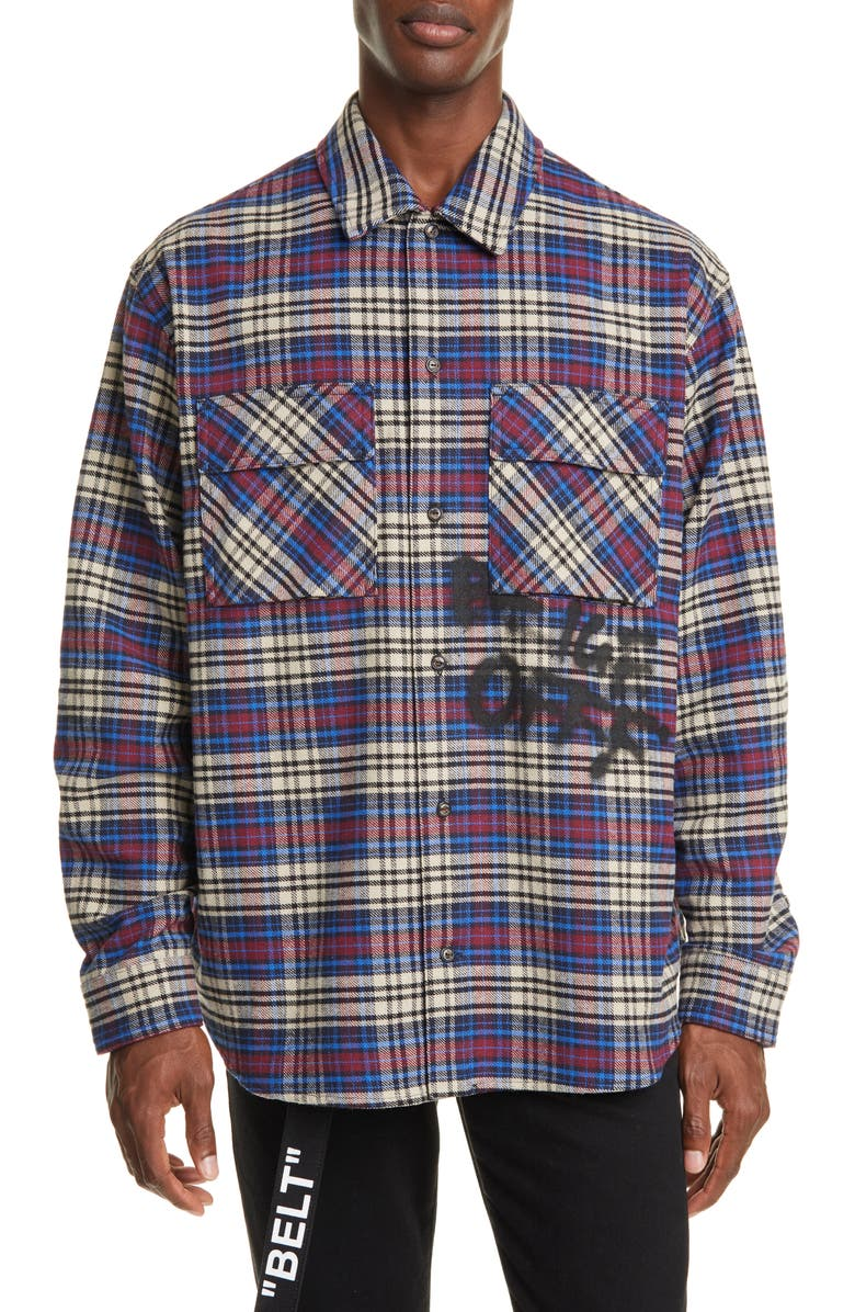 OFF-WHITE Button-Up Plaid Flannel Shirt, Main, color, 400