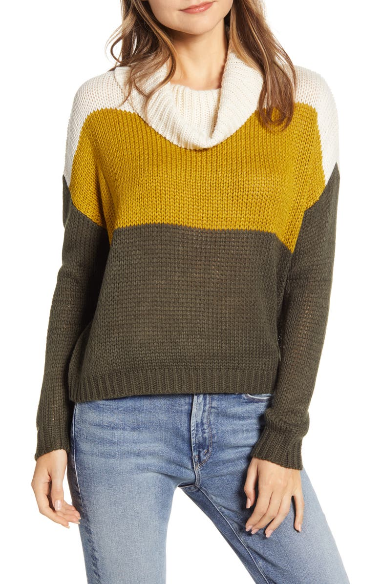 BEACHLUNCHLOUNGE Colorblock Cowl Neck Sweater, Main, color, OLIVE DRAB COMBO
