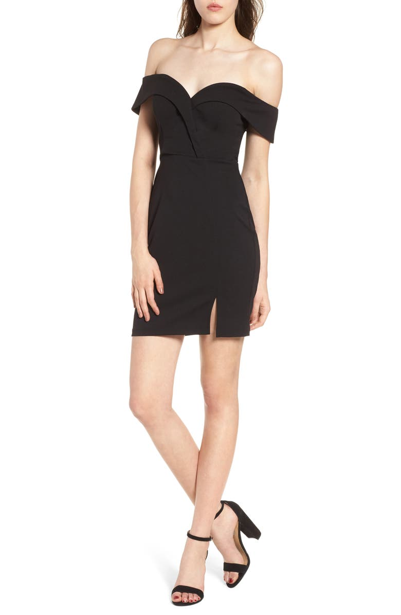 SPEECHLESS Off the Shoulder Body-Con Dress, Main, color, Black