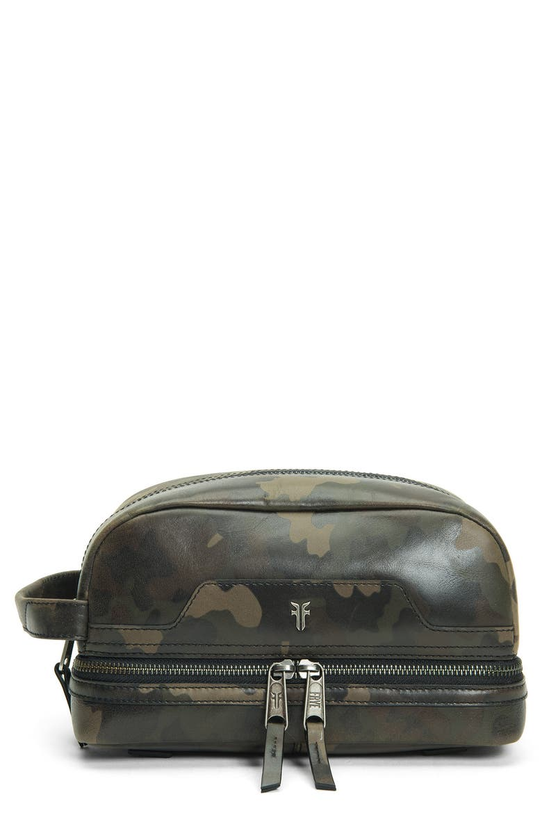 FRYE Holden Leather Travel Case, Main, color, DARK CAMO