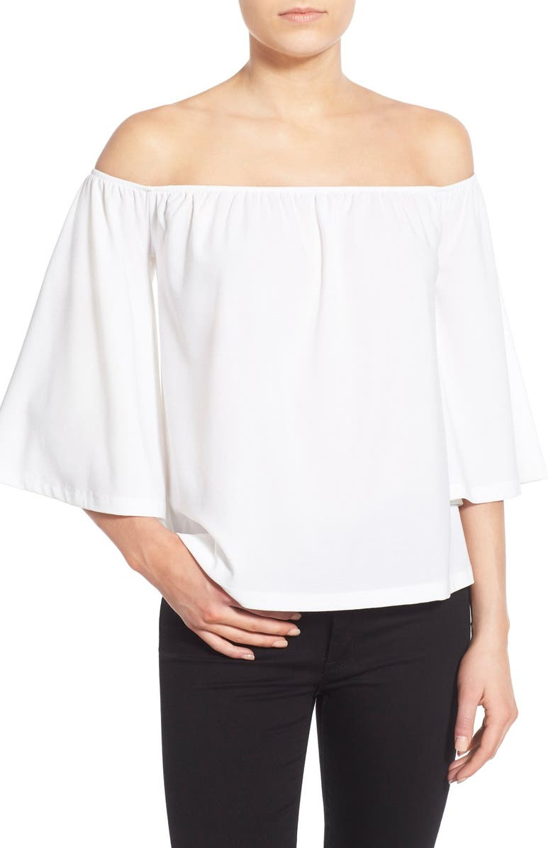 LEITH Off the Shoulder Knit Top, Main, color, 100