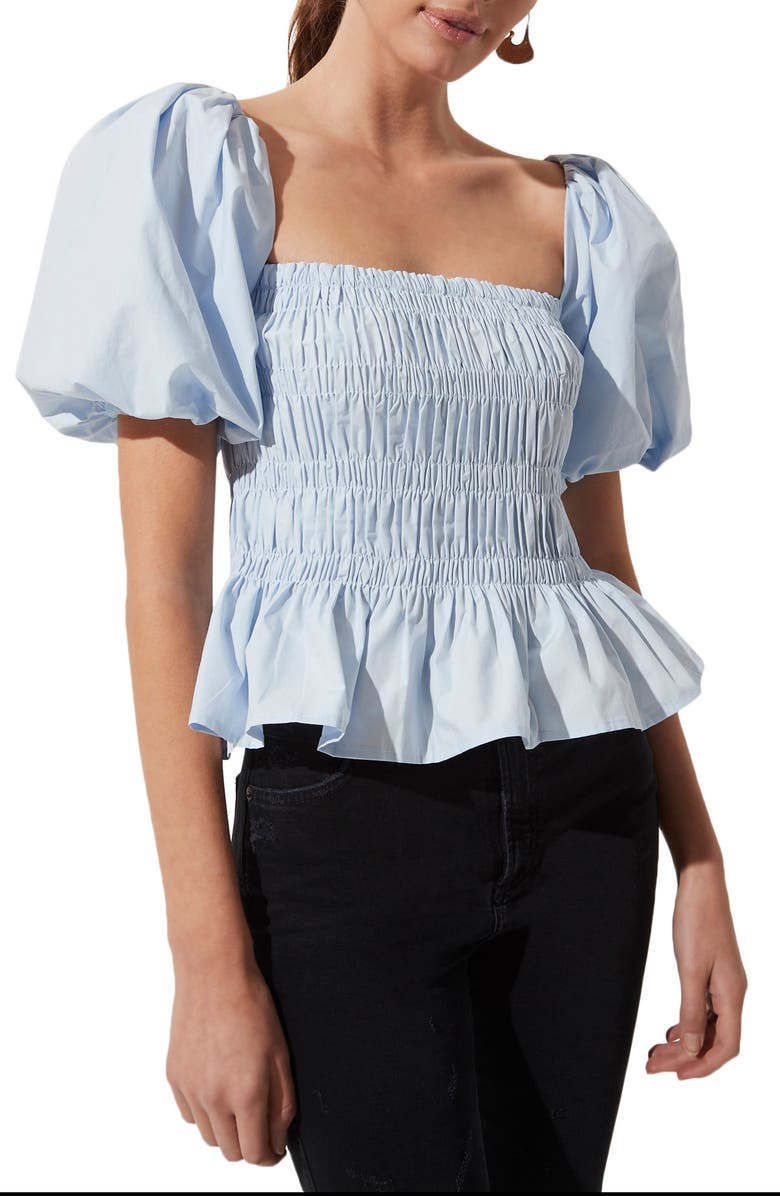 ASTR THE LABEL Bubble Sleeve Smocked Blouse, Main, color, LIGHT BLUE