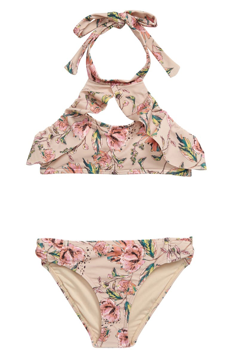 O'NEILL Van Don Floral Two-Piece Halter Swimsuit, Main, color, 200