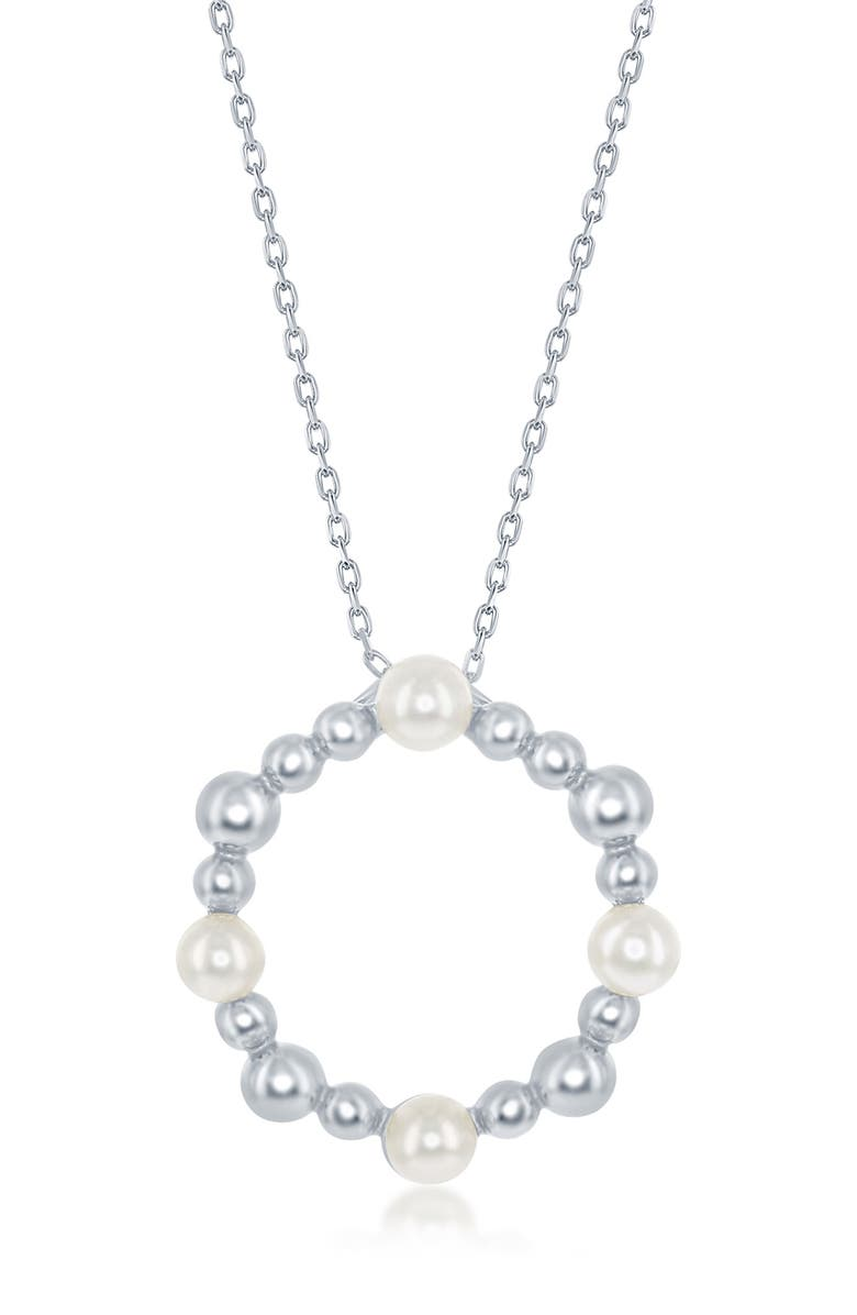 SIMONA Sterling Silver Freshwater Pearl & Beaded Circle Necklace, Main, color, SILVER