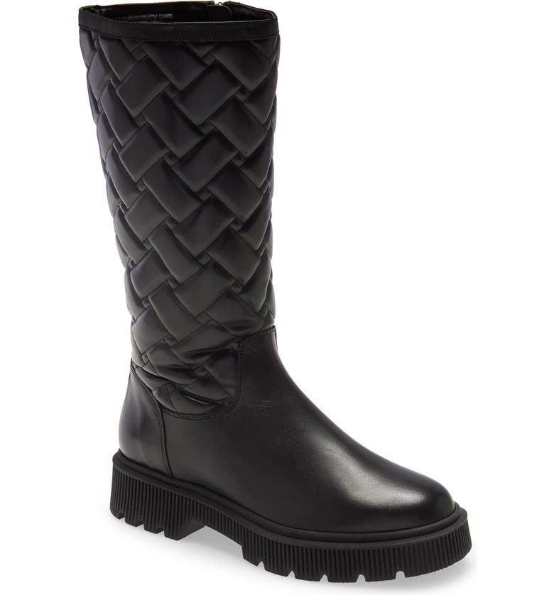 KURT GEIGER LONDON Baton Quilted Knee High Boot, Main, color, BLACK LEATHER