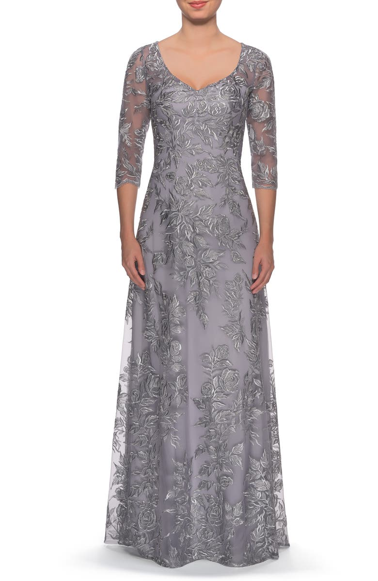 LA FEMME Floral Embroidered Mesh A-Line Gown, Main, color, Silver