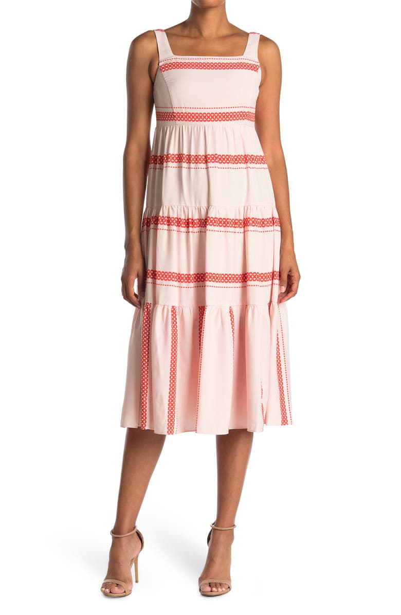 TAYLOR DRESSES Sleeveless Ruffle Front Twofer Dress, Main, color, TRUE BLUSH RED