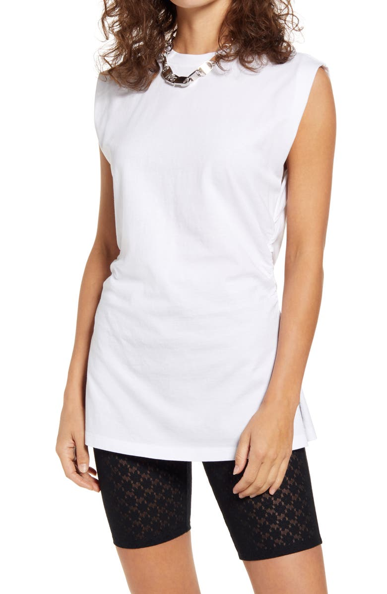 OPEN EDIT Side Ruched Sleeveless Tunic, Main, color, WHITE