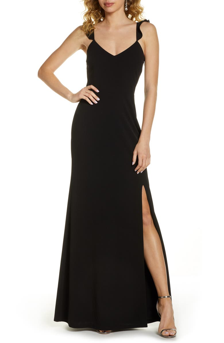 WAYF The Mina Ruffle Strap Gown, Main, color, 001