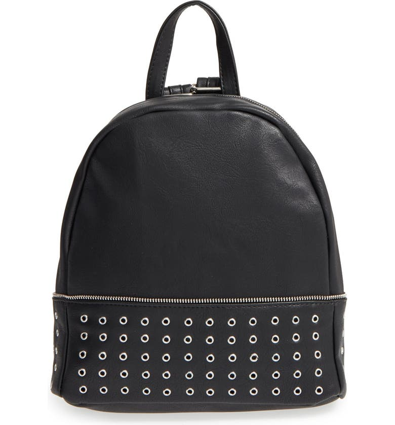 SOLE SOCIETY 'Prescott' Grommet Faux Leather Backpack, Main, color, 001