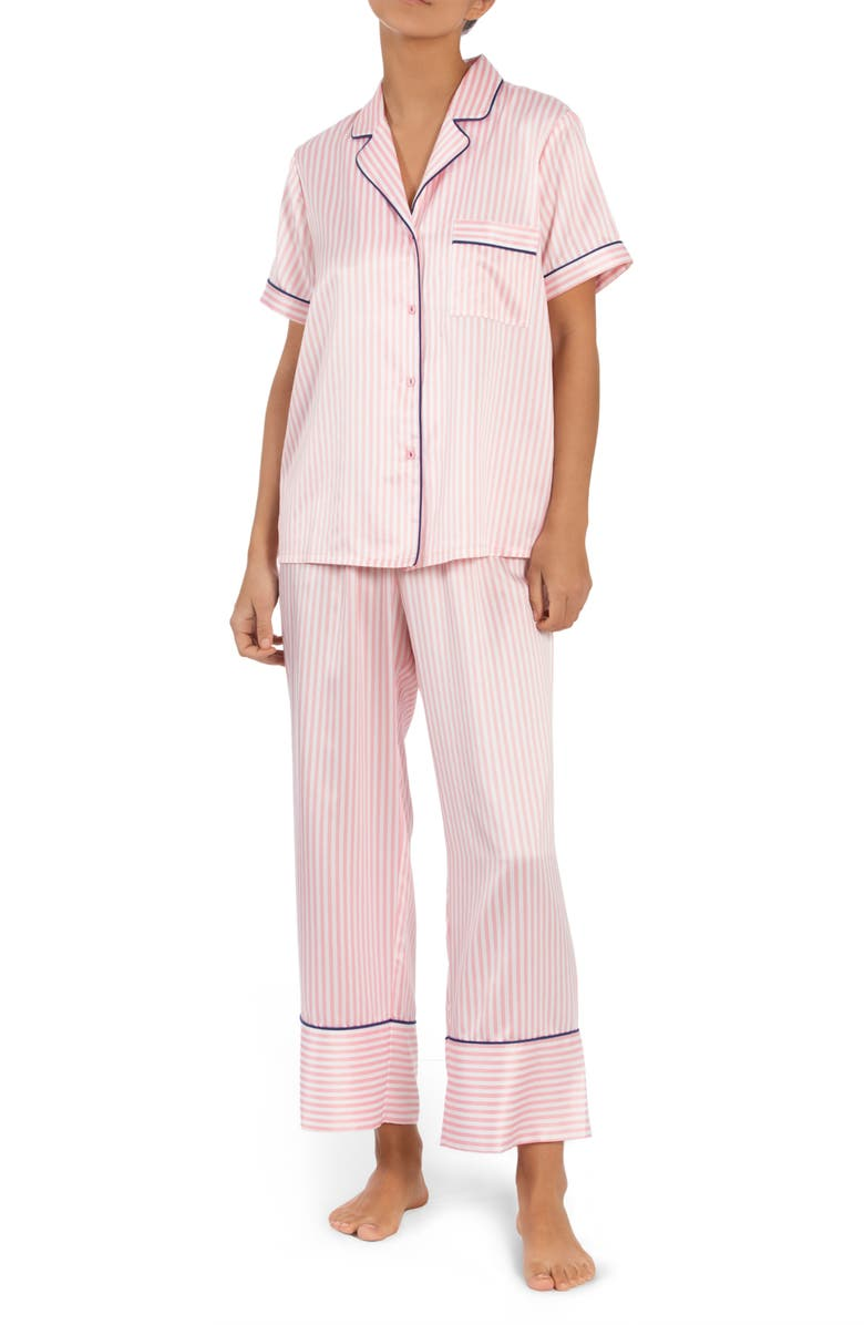 IN BLOOM BY JONQUIL Satin Pajamas, Main, color, CORAL STRIPE