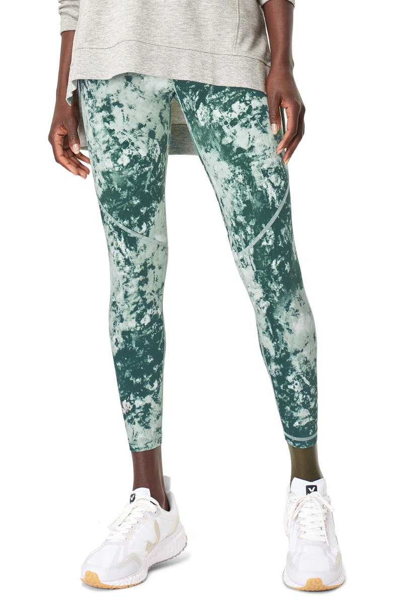 SWEATY BETTY Power Pocket Workout 7/8 Leggings, Main, color, GREEN ABSTRACT TIE DY