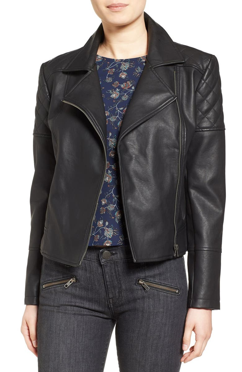 CUPCAKES AND CASHMERE 'Breck' Faux Leather Moto Jacket, Main, color, Black