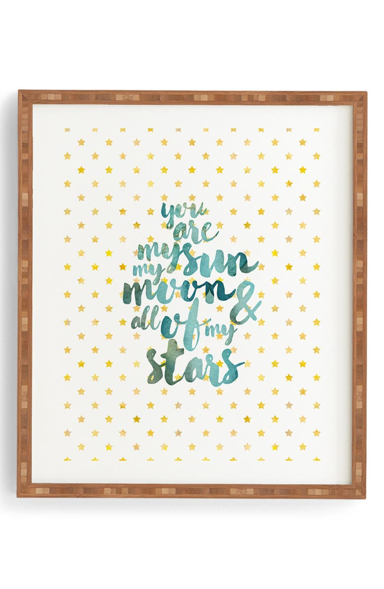 DENY DESIGNS You Are My Sun Moon & Stars Framed Wall Art, Main, color, BLUE/ GREEN