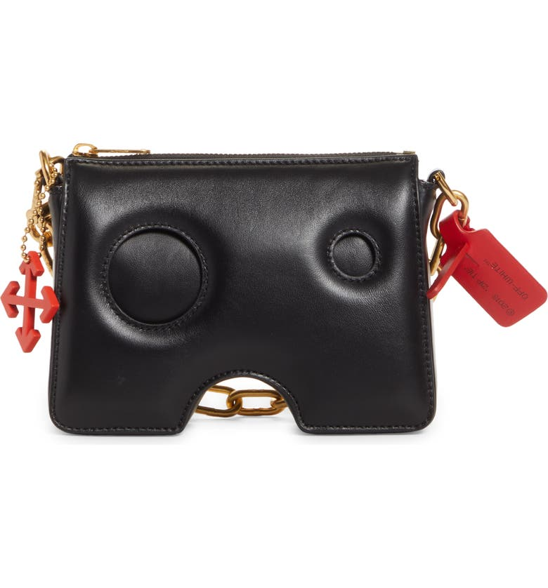 OFF-WHITE Burrow Leather Clutch, Main, color, BLACK