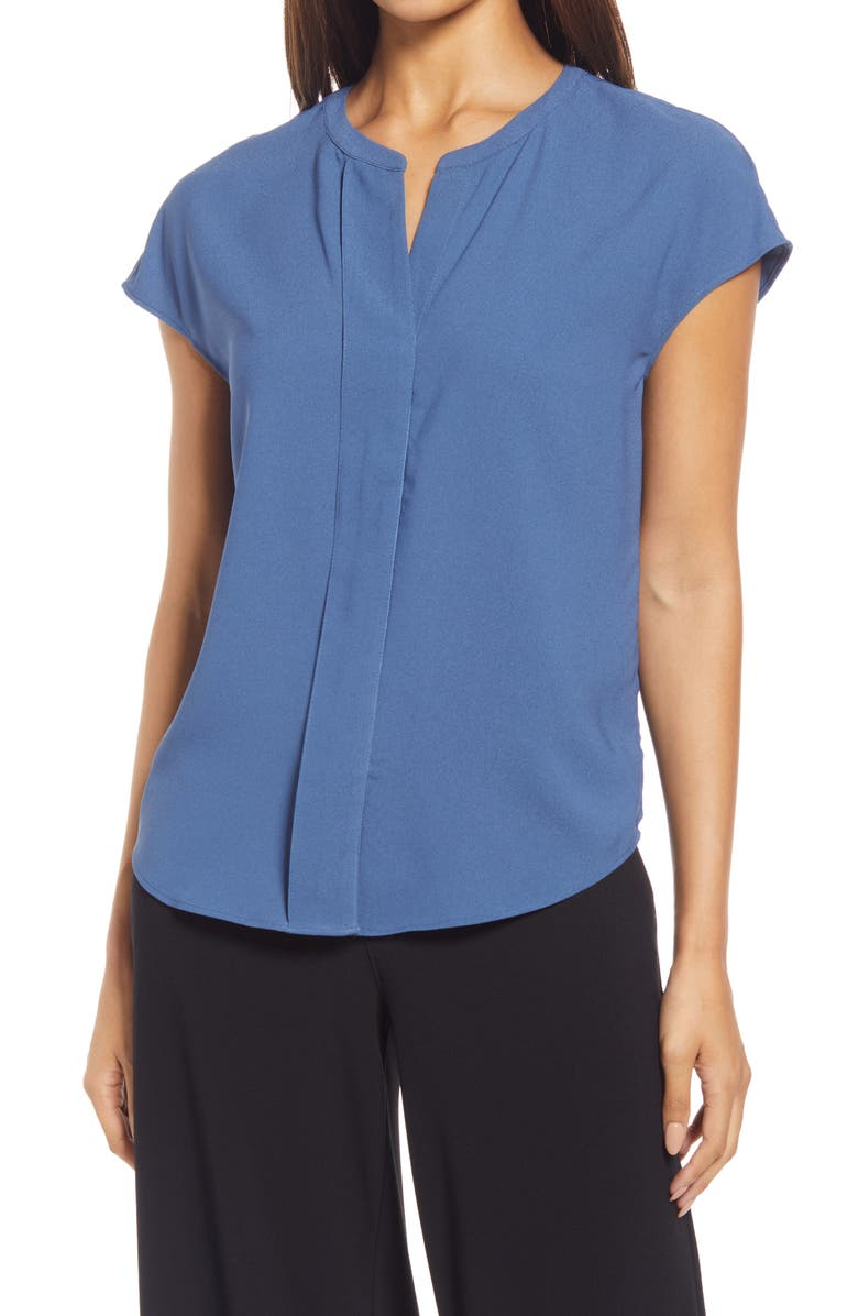 NORDSTROM Pleat Front Woven Top, Main, color, BLUE ENSIGN