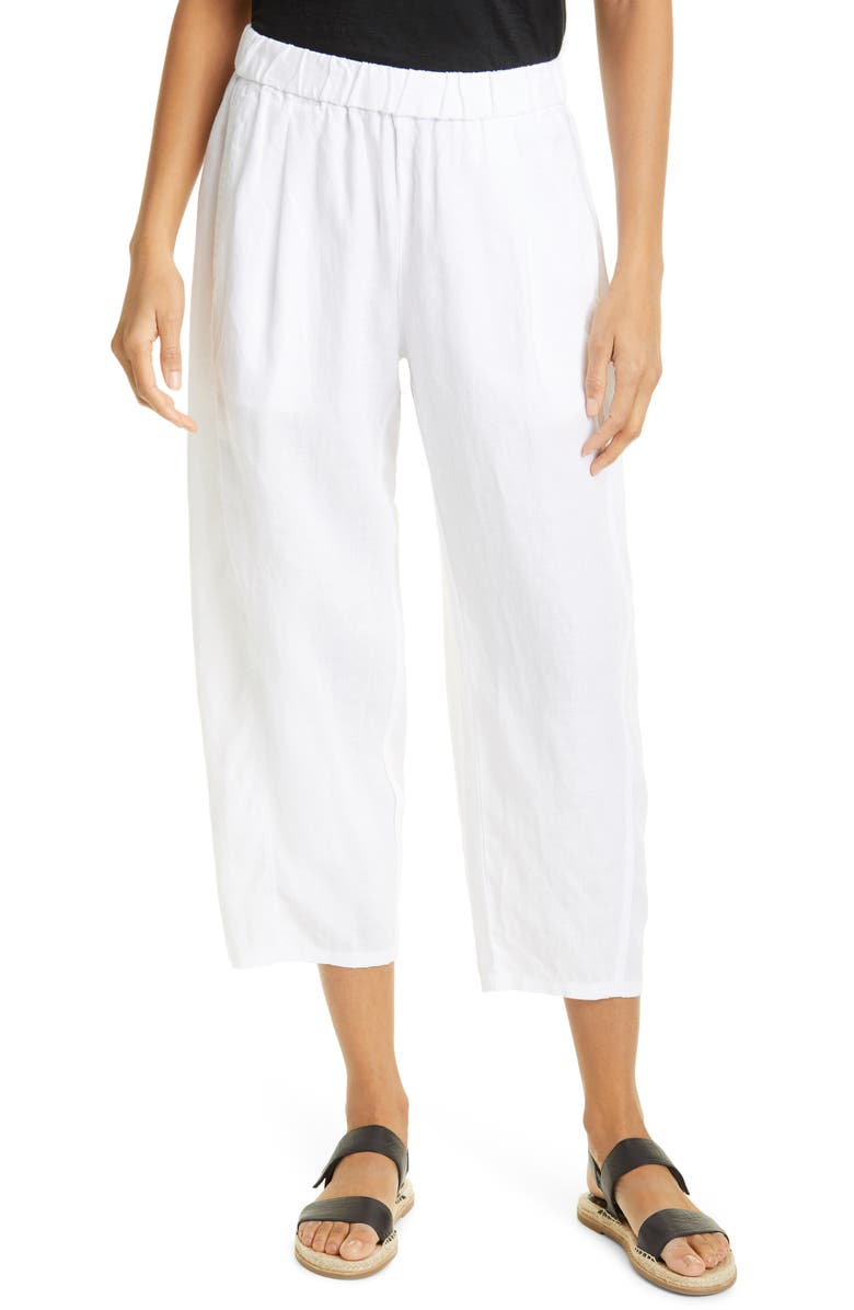 EILEEN FISHER Lantern Crop Organic Linen Pants, Main, color, WHITE