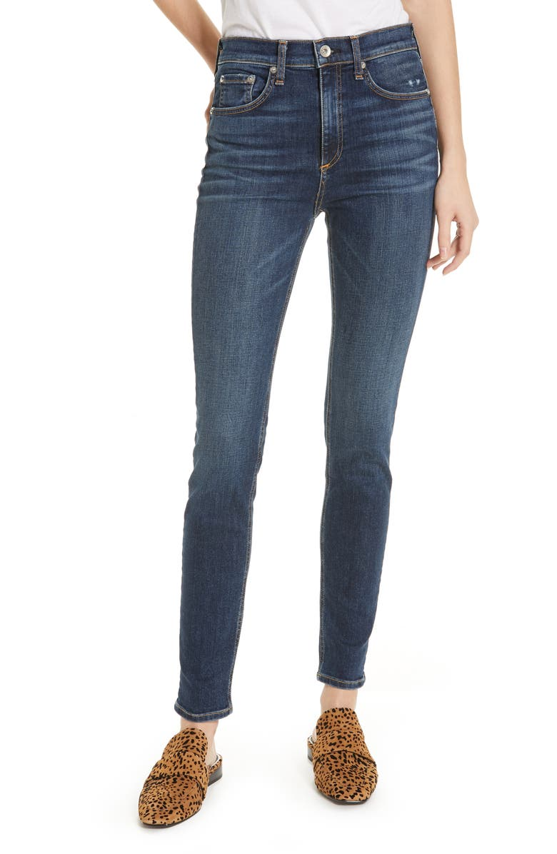 RAG & BONE Ripped High Waist Skinny Jeans, Main, color, 420