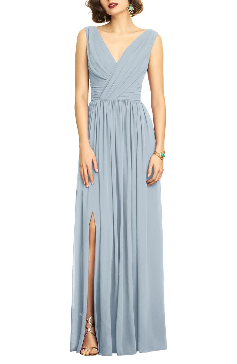 DESSY COLLECTION Surplice Ruched Chiffon Gown, Main, color, MIST