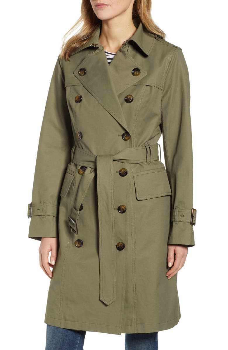 LONDON FOG Water Repellent Trench Coat, Main, color, ARMY