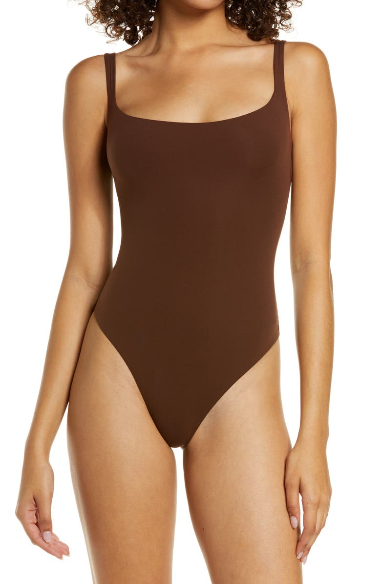 SKIMS Fits Everybody Square Neck Sleeveless Bodysuit, Main, color, COCOA
