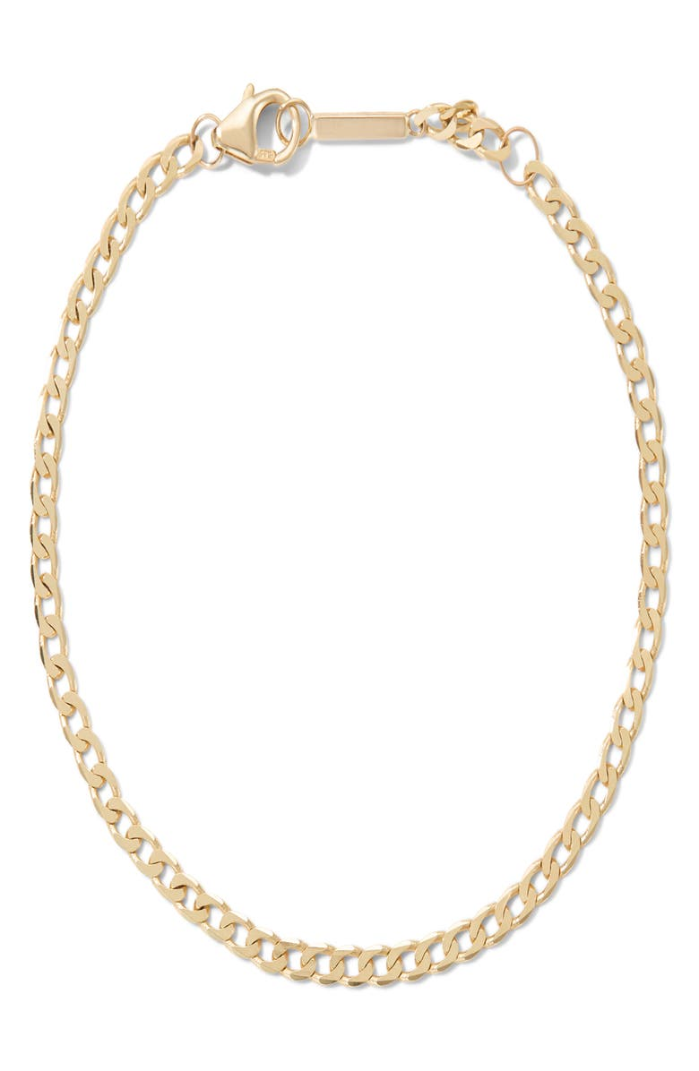 LANA JEWELRY Nude Curb Chain Single Strand Necklace, Main, color, YELLOW GOLD