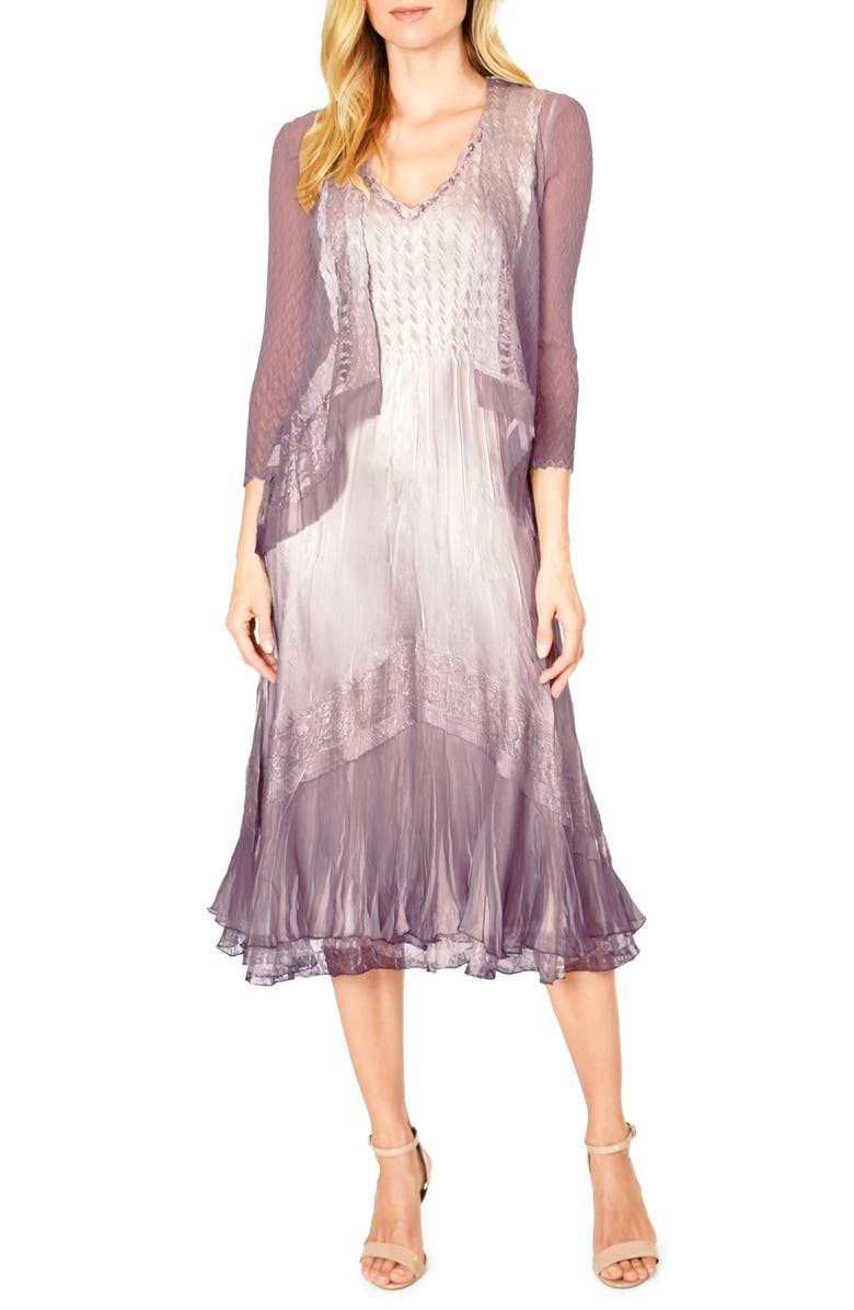 KOMAROV Lace Inset Charmeuse Dress with Jacket, Main, color, 657