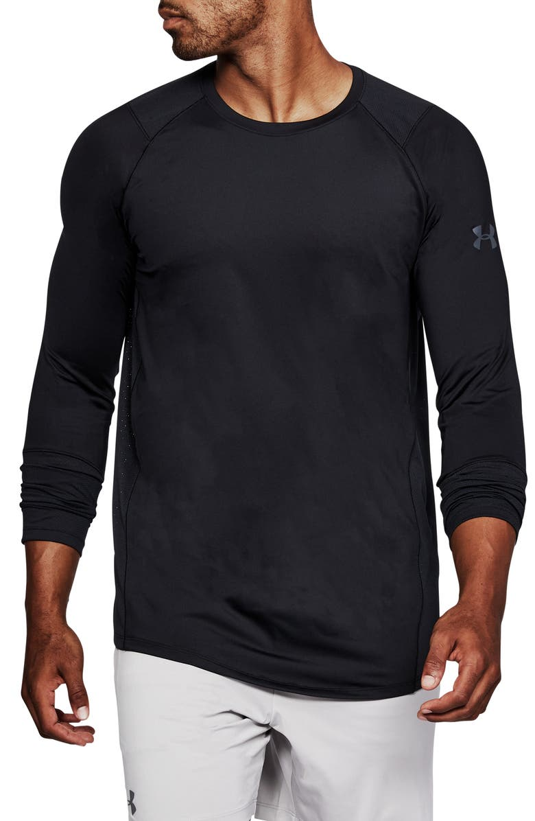 UNDER ARMOUR HeatGear<sup>®</sup> MK-1 Long Sleeve Performance T-Shirt, Main, color, 001